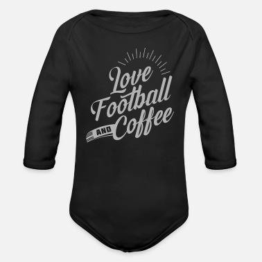Pitch Love Football And Coffee - Organic Long-Sleeved Baby Bodysuit