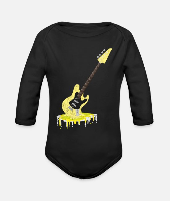 Guitar Baby One Pieces - Bass guitar - Organic Long-Sleeved Baby Bodysuit black
