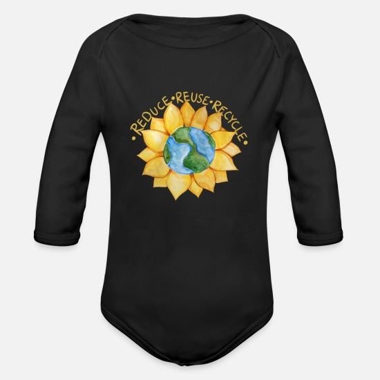 Sunflower Baby Clothing - Reduce reuse recycle - Organic Long-Sleeved Baby Bodysuit black