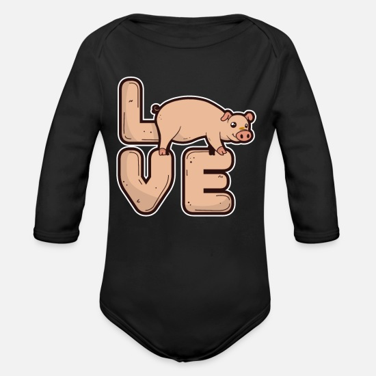 Boar Baby Clothing - Gift for pig lover nice pig - Organic Long-Sleeved Baby Bodysuit black