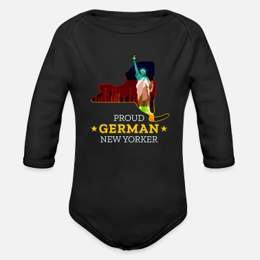 New German States Proud German New Yorker - New York State - Organic Long-Sleeved Baby Bodysuit