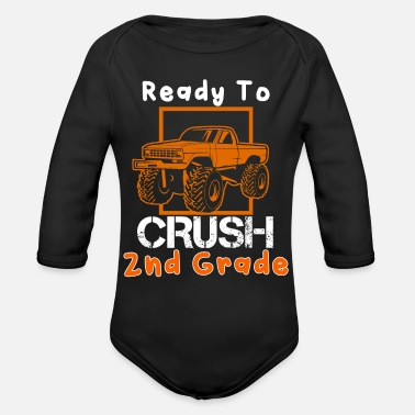 Back To School Ready to Crush 2nd Grade School Truck 4 Wheeler - Organic Long-Sleeved Baby Bodysuit