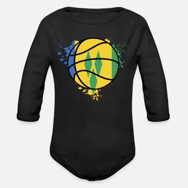 Saint Vincent And The Grenadines Saint Vincent And The Grenadines Basketball Team - - Organic Long-Sleeved Baby Bodysuit