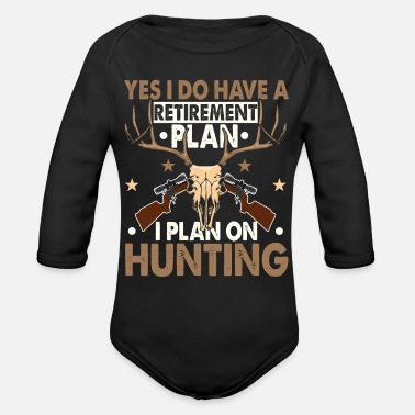 Retired Afghanistan Retirement Funny Deer Hunter Hunting Gifts - Organic Long-Sleeved Baby Bodysuit