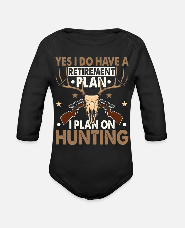 Retirement Funny Baby One Pieces - Retirement Funny Deer Hunter Hunting Gifts - Organic Long-Sleeved Baby Bodysuit black