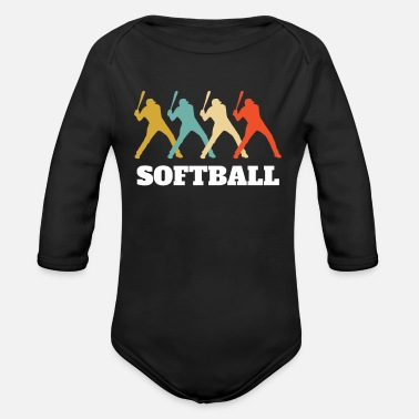 35 Softball Players Retro Vintage - Organic Long-Sleeved Baby Bodysuit