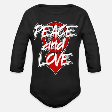 Peace Sign Peace and love |Peace sign - Organic Long Sleeve Baby Bodysuit