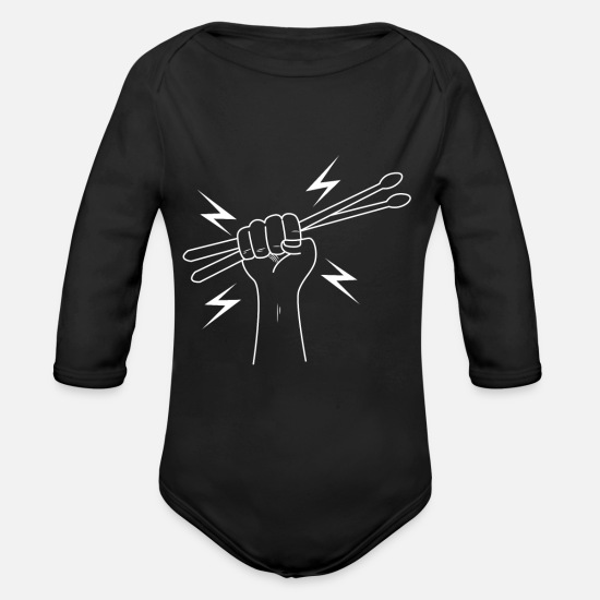 Rocker Baby Clothing - Hand with Drums Stick - Organic Long-Sleeved Baby Bodysuit black