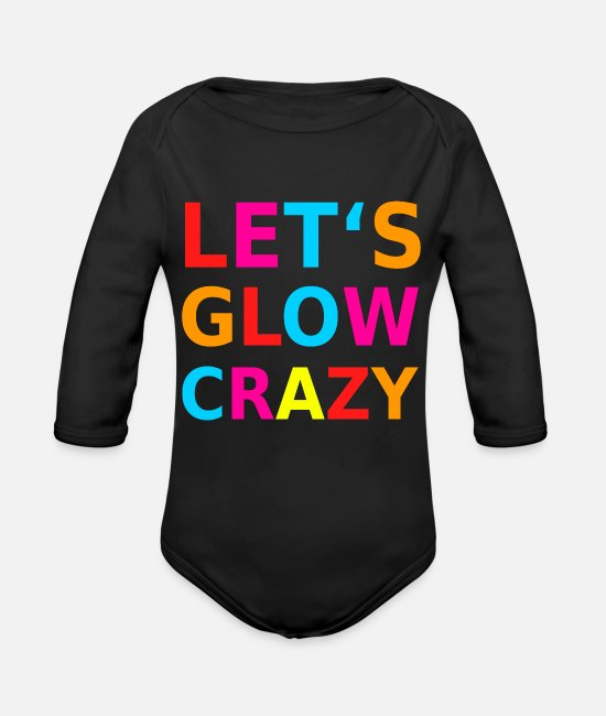 Raven Baby One Pieces - Let's Glow Crazy Retro Neon Party Black Light - Organic Long-Sleeved Baby Bodysuit black