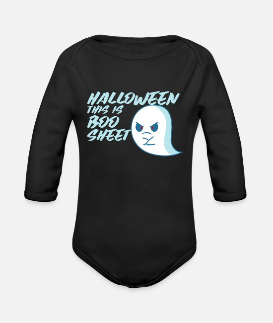 Horror Baby One Pieces - Funny Halloween Sayings - Organic Long-Sleeved Baby Bodysuit black