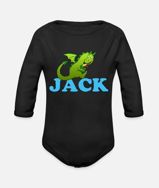 Romper Baby One Pieces - Jack First name Baby Children Name - Organic Long-Sleeved Baby Bodysuit black
