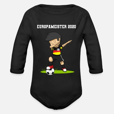 European Champion European Champion 2020 Dabbing Footballer Boy Socc - Organic Long-Sleeved Baby Bodysuit