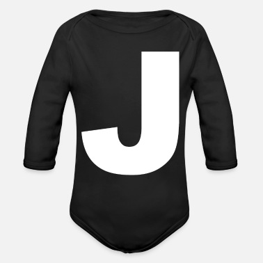Initial J Initial letter Initials - Organic Long-Sleeved Baby Bodysuit