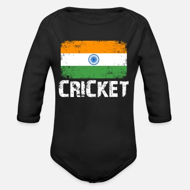 India India Cricket, India Team Cricket, India Flag - Organic Long-Sleeved Baby Bodysuit