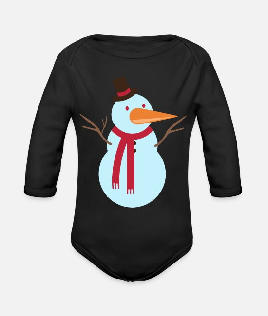 Art Baby One Pieces - Snowman - Organic Long-Sleeved Baby Bodysuit black