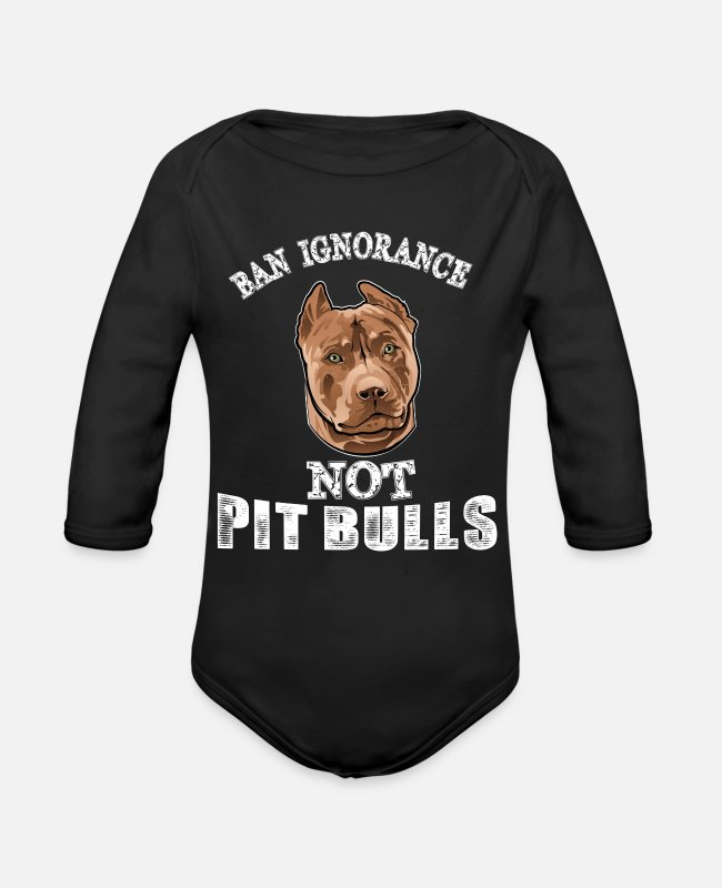 Pitch Baby One Pieces - Ban ignorance not pit nulls - Organic Long-Sleeved Baby Bodysuit black