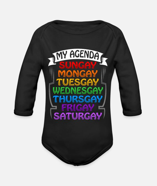 Gay Pride Baby One Pieces - Agenda Gay Pride - Organic Long-Sleeved Baby Bodysuit black