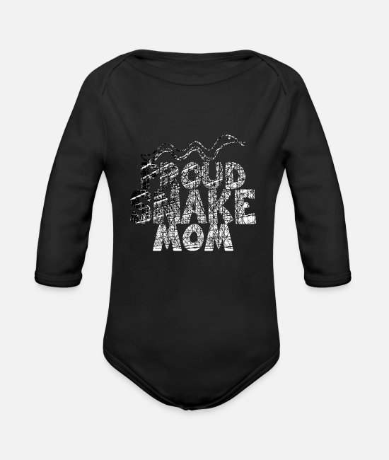 Proud Baby One Pieces - proud snake mom white usedlook - Organic Long-Sleeved Baby Bodysuit black