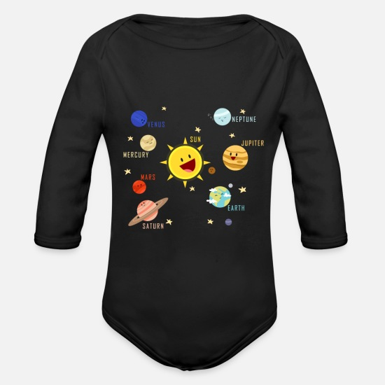 Birthday Baby Clothing - Planets Galaxy T-shirt Science Tee - Organic Long-Sleeved Baby Bodysuit black