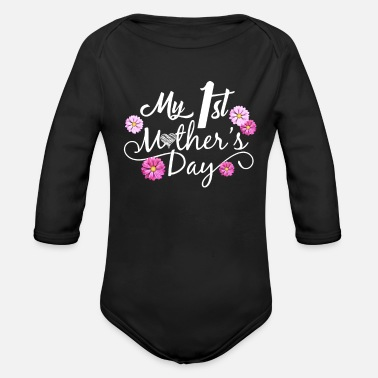 Mothers My 1st Mother's Day - Organic Long-Sleeved Baby Bodysuit