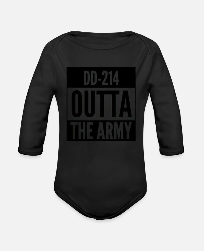 Veteran Dd214 Baby One Pieces - US Army Shirt Veteran Retired T Shirt Proud DD214 - Organic Long-Sleeved Baby Bodysuit black