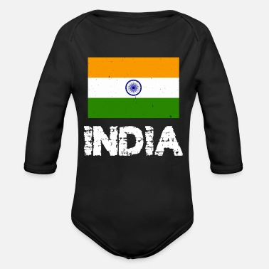 India India National Pride Indian Flag Design - Organic Long-Sleeved Baby Bodysuit