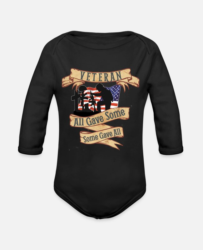 Afghanistan War Baby One Pieces - Dad Veteran Shirt OIF OEF Military Retirement T Shirt - Organic Long-Sleeved Baby Bodysuit black