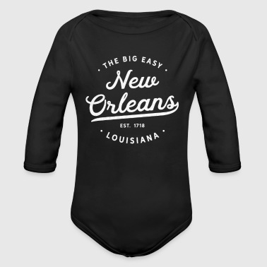 Classic Vintage Retro New Orleans Louisiana NOLA The Big Easy United States - Organic Long Sleeve Baby Bodysuit