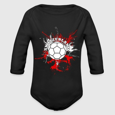 Switzerland Soccer Alps Mountains Schweiz - Organic Long Sleeve Baby Bodysuit
