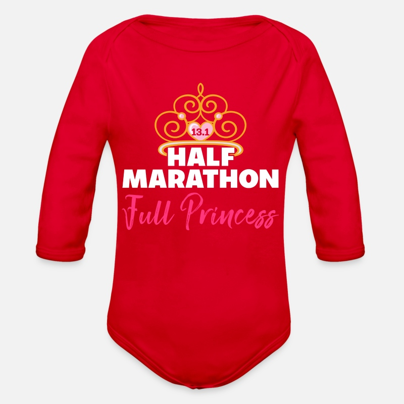 e61092954d522 HALF MARATHON Full Princess Organic Long Sleeve Baby Bodysuit - red