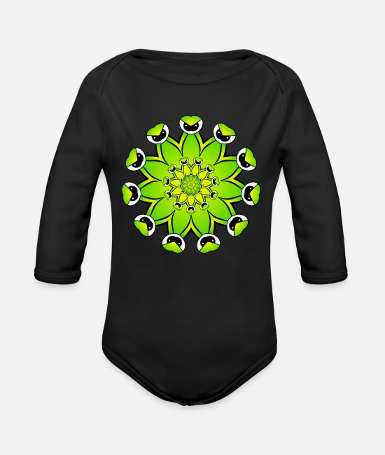 Relaxing Baby One Pieces - Mandala - Organic Long-Sleeved Baby Bodysuit black