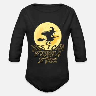 Broom Witch - Organic Long-Sleeved Baby Bodysuit