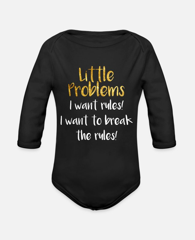 BDSM Baby One Pieces - Little Problems Ageplay Brat Princess Daddy - Organic Long-Sleeved Baby Bodysuit black