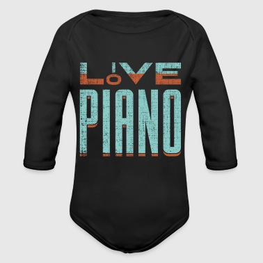 Love Piano fun gift idea for pianists and musician - Organic Long Sleeve Baby Bodysuit