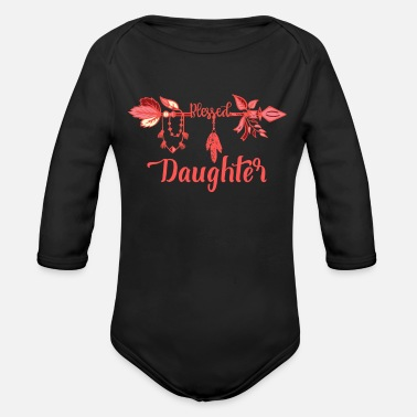 Daughter Blessed Daughter Boho Arrow Pink Feathers - Organic Long-Sleeved Baby Bodysuit