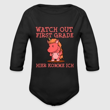First Grade Watch Out First Grade - Organic Long Sleeve Baby Bodysuit