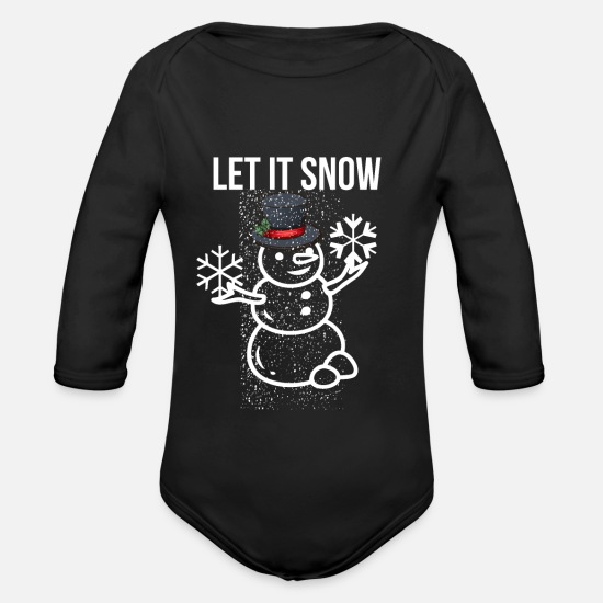 Snow Baby Clothing - Let it snow! snowman snowflake snow wintertime - Organic Long-Sleeved Baby Bodysuit black