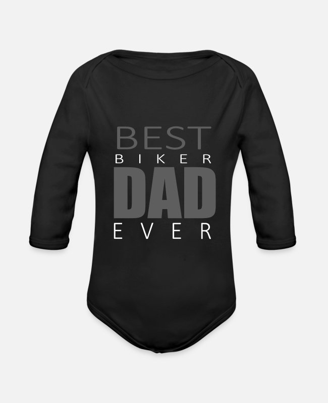 Proud Baby One Pieces - Best Biker Dad Ever - Organic Long-Sleeved Baby Bodysuit black