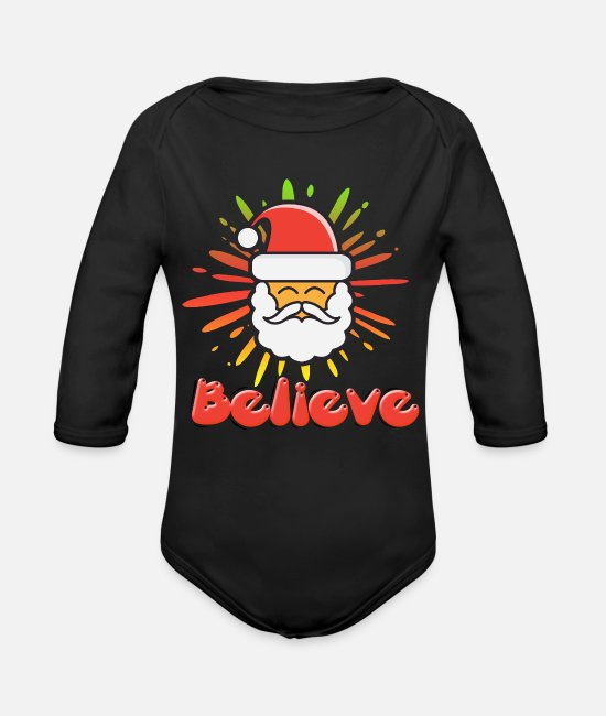 Christmas Baby One Pieces - Santa Claus - Organic Long-Sleeved Baby Bodysuit black