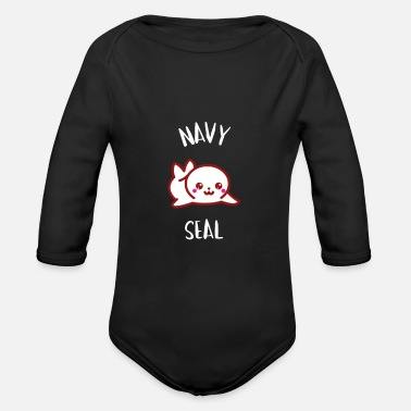 Navy Navy Seal - little seal - Organic Long-Sleeved Baby Bodysuit