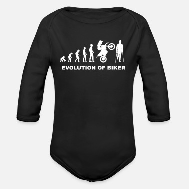 Motor evolution biker motorcycle crutches gift idea bike - Organic Long-Sleeved Baby Bodysuit
