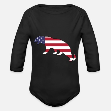 American Flag Mountain Lion Happy 4th of July - Organic Long Sleeve Baby Bodysuit