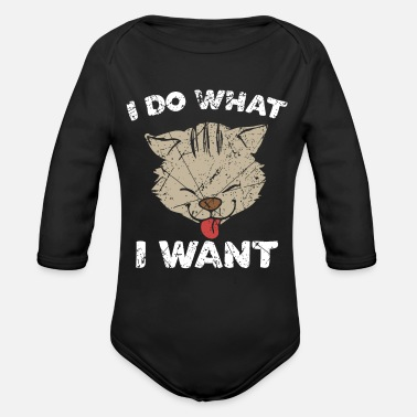 Funny Cat Kitten Joke Sweet - Organic Long-Sleeved Baby Bodysuit