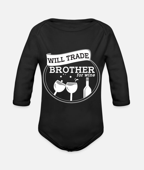 Wine Baby One Pieces - Wine Liquor Funny Gift - Organic Long-Sleeved Baby Bodysuit black