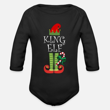King Elf King Matching Family Group Christmas TShirt - Organic Long-Sleeved Baby Bodysuit