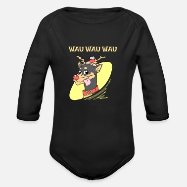 Wau dog christmas reindeer rudolph gift pet wau xmas - Organic Long-Sleeved Baby Bodysuit
