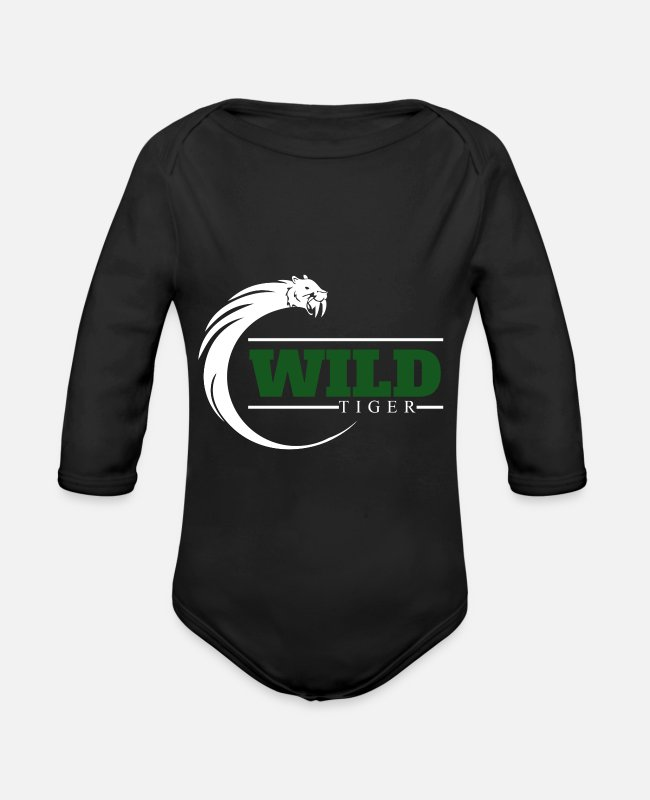 Wild Cat Baby One Pieces - Wild Tiger Gift Christmas Kids Birthday - Organic Long-Sleeved Baby Bodysuit black