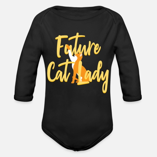 Soft Kitty Baby Clothing - Future Cat Lady Crazy Cats - Organic Long-Sleeved Baby Bodysuit black