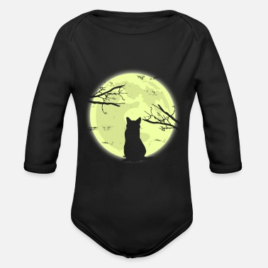Moon Cat Moon Shadow Gift Christmas Kids Cats - Organic Long-Sleeved Baby Bodysuit