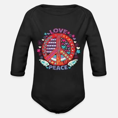 Peace Sign Peace Peace Sign - Organic Long-Sleeved Baby Bodysuit